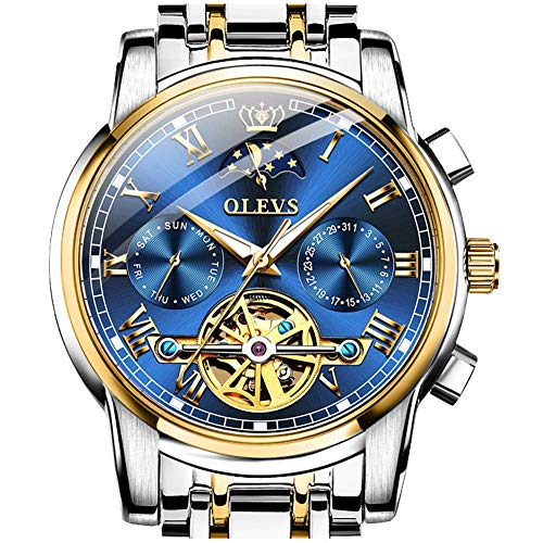 Automatic Watches for Men Stainless Steel Tourbillon Skeleton Watches Self Winding Mechanical Men's Wrist Watches Blue Face Moon Phase Luxury Japanese Swiss OLEVS Watch Men,relojes de Hombre