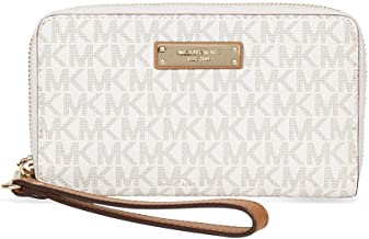 Michael Kors Womens Jet Set Travel Logo Continental Faux Leather Wristlet Wallet