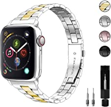Aizilasa Stainless Steel Band Compatible with Apple Watch Band 40mm 44mm Series 6/5/4 38mm 42mm Series 3/2/1 for Women Men...