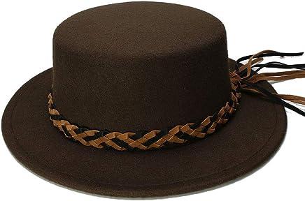 2019 Women Kid Child Wool Wide Brim Round Cap Pork Pie Porkpie Bowler Hat Twist Braid Leather Band (54cm/Adjust) (Color : Coffee, Size : 54cm)