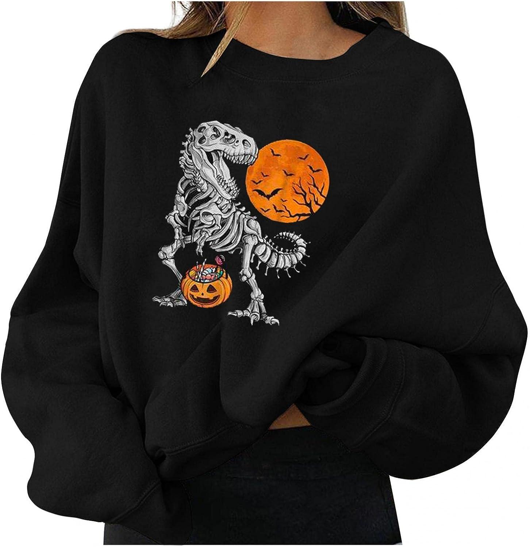 Women's Halloween Long Sleeve, Womens Pullover Funny Cute Pumpkin Black Cat Ghost Graphic Hoodies Lightweight Coat
