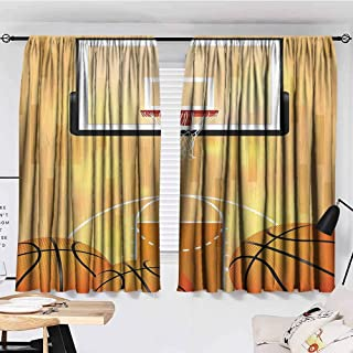 GOMAE Sports Decor Collection Curtains Bathroom Window Basketball Court Ball and Hoop Madness Rim Court Parquet Hardwood Picture Print Ivory Orange Black Curtains for Bedroom