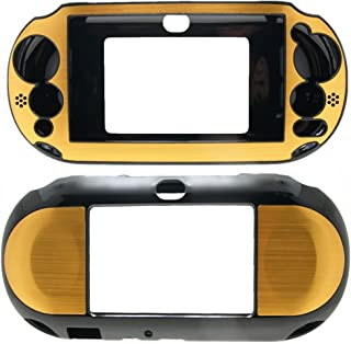PlayStation PS VITA PSVITA Slim 2000 Case Cover Hybrid Brushed Aluminum Metal Overlay Hard Plastic + Free Screen Protector (2nd Generation, PCH-2xxx Version Only) (Gold)