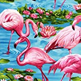 Fabric Flamingo's on Blue Water Pink Flowers on Cotton by The 1/4 Yard