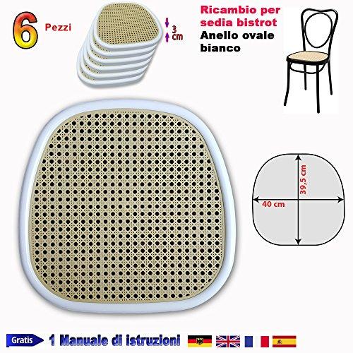 Vervangende stoel van metaal bistrood - FacilLCASA - zitting rond, reserveonderdeel van kunststof voor bevestiging op stoel Thonet - stoel van ijzer Vienna - Vervang snel en zuinig, met onze vervangstro-vervanging (40 x 39,5 cm, art. bistrood ovaal ring wit)