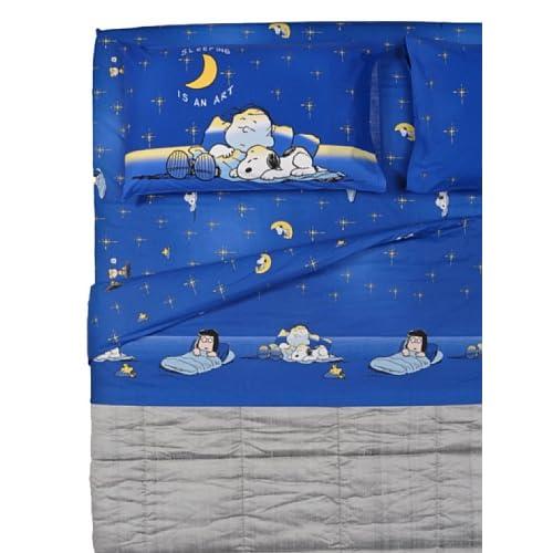 Cartoons Home Textile Completo Letto Snoopy Blu/Giallo 150X280