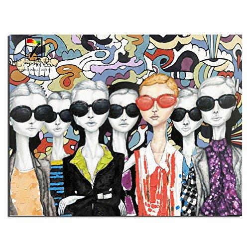 Pura dipinto a mano olio pittura ritratto indossando occhiali da sole folla hotel decorazione pittura a olio