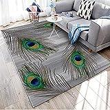 WQ-BBB Super Suave Decoración Gris Alfombra Dormitorio sin Pelo Pluma de Pavo Real marrón Verde Azul Negro alfombraspara Mesa Salon Pasillo jarapas 160X200cm