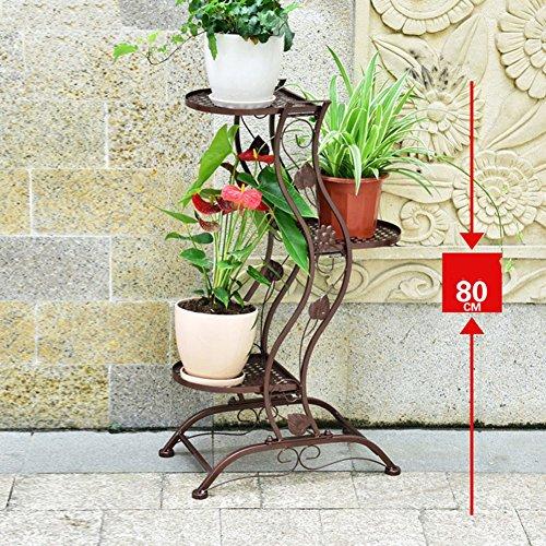 Liangliang européenne Fer Pot de Fleurs étagère Support au Sol Plante Échelle Jardin Support d'intérieur Pot de Fleurs Balcon bonsaï, 2 Tailles, 3 Couleurs, Fer, Bronze, 45 * 27 * 80cm