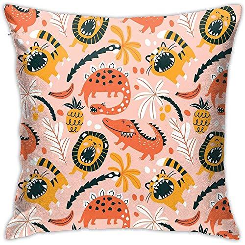 July schattige wilde tijger-dinosaurus hoezen vierkante kussenhoes voor thuis, op de bank, slaapkamer, auto, stoel, huis, party