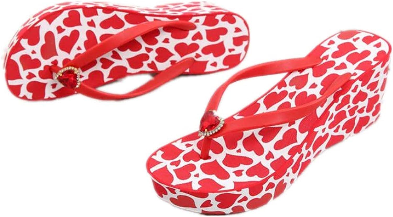 Sakisa Women's Summer Rhinestone Heighten Anti-Skid wear-Resistant Wild Beach Sandals
