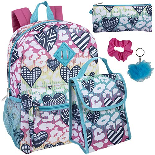Girl's 6 in 1 Backpack Set With Lunch Bag, Pencil Case, Keychain, and Accessories (Groovy hearts)