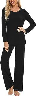 Anjue Conjunto de pijama de manga larga para mujer, pantalones largos con cuello en O, ropa de dormir, pijama, ropa de dor...