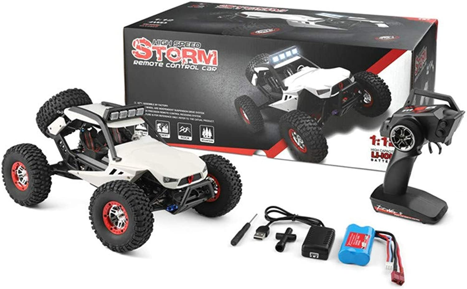 SingularPoint RC Car, Wl 540Brush Motor High Speed 40km h 1 12 4WD 2.4GHz Radio Remote Control Racing Truck