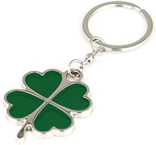 Sharp Silver and Green Color High Quality Zinc Alloy Four-leaf Clover Fortune Keychain