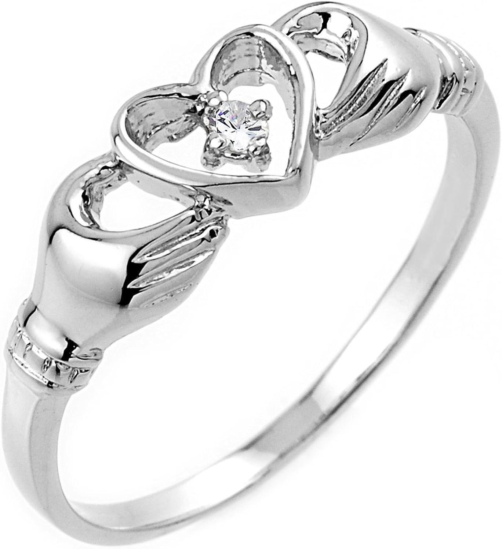 High Polish 10k White gold Diamond Solitaire Claddagh Ring