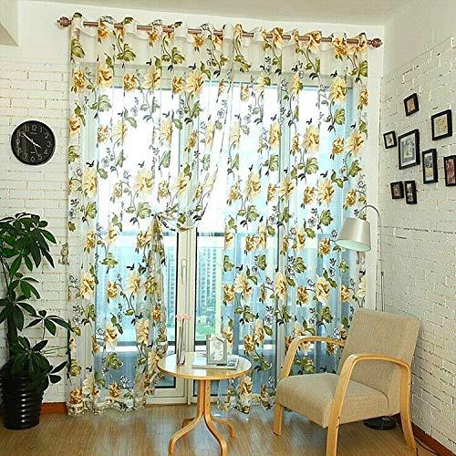 YAHLSEN Klassische Tulle Rotten Blumen-Vorhang-Fenster-Dekoration, Größe: 100x200cm Wear Rod (Purple) Q (Color : Grey with Bead)