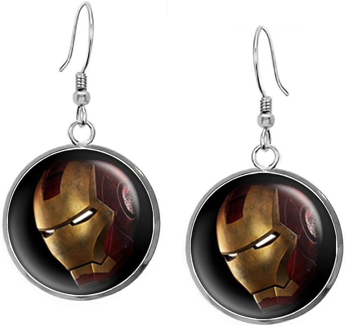 Incredible Hulk Radiation Necklace Iron Man Ironman Pendant Set Marvel Captain America Shield Superhero Jewelry Avengers Earrings