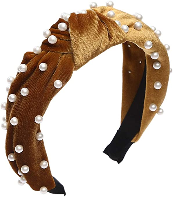 Pearl Knotted Headbands for Women - Beige Velvet Knotted Pearl Headbands Turban Wide Hoop Headbands for Girlfriend Sisters Mother Women and Girls Hair Accessories