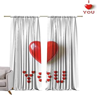 Andrea Sam Long Curtains I Love You,3D Illustration of Valentines Heart in Between Words Made with Heart Shaped Font,Red White Blackout Curtains 2 Panels Set Room,W120 x L84 inch