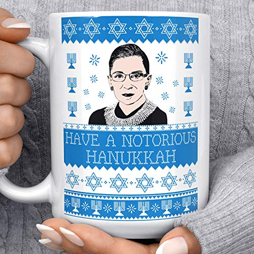 Ruth Bader Ginsburg Hanukkah Coffee Mug | Microwave Dishwasher Safe Ceramic Notorious RBG Cup | Great Hanukkah Gift