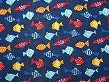 Fisch Print Polycotton Kleid Stoff, Marineblau, Meterware