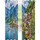 Cortina aislada para sombreado, famosa aldea de montaña Hallstatt con lago en los Alpes austriacos visita turística, 52 x 95 cm (ancho x largo) para sala de estar o dormitorio, color azul