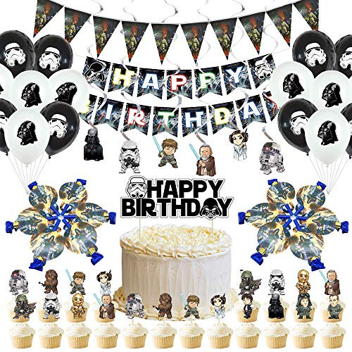 Star Wars Party Supplies, Party Favors, Party Decorations Includes Happy Birthday Banner, Swirls, Foil Balloons, Cake & Cupcake Topper, Pennant, Blowouts