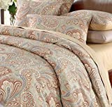 LELVA Bohemian Bedding Ethnic Vintage Floral Duvet Cover Hotel Collections Themed 800TC California King Paisley Quilt Cover with Pillow Shams 3 Piece Boho Bedding Sets 100% Cotton