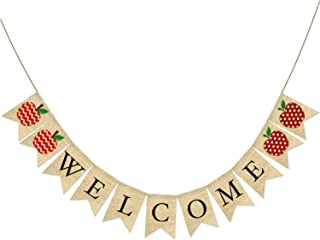 AVOIN Welcome Burlap Banner Chevron Polka Dot Apple, Rustic Pennant Decoration for Back to School First Day of School Teacher Appreciation Party Supplies Classroom Decor - No DIY Required