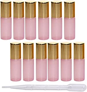 12Pcs 5ml Pearl Color Glass Roller Bottles Roll-on Bottles Vial Container with Stainless Steel Roller Balls and Gold Cap for Essential Oil Perfumes Liquid Aromatherapy+1pc 3ml Free Dropper,Pink