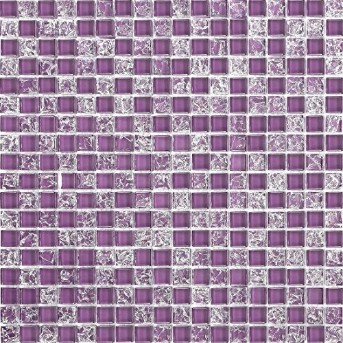 Viola Crackle e tinta unita vetro mosaico piastrelle foglio (mt0070)