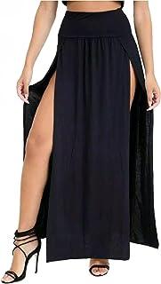 MISS BOHO CHIC Falda larga elástica de cintura alta para mujer con abertura lateral y abertura lateral