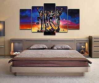 Yftnipl 5 Piezas Lienzo Poster Kiss Rock Band Roll All Night Hd Arte De La Pared Impresa Decoración Dormitorio El Hogar Pintura De La Lona Foto