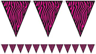 Beistle 54241-CBK Zebra Print Pennant Banner, 10-Inch by 12-Feet