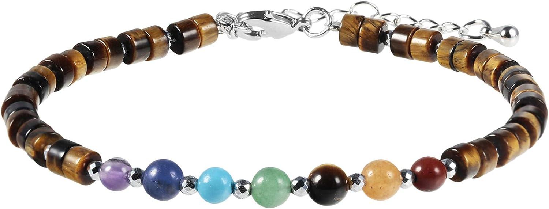 TUMBEELLUWA 7 Chakra Crystal Stone Beads Bracelet for Women Adjustable Flat Beaded Link Bangle for Energy Healing