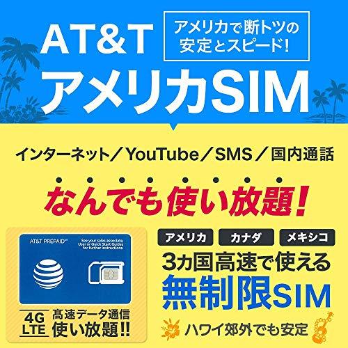 アメリカSIM 30日間【使い放題】4G-LTE 高速データ通信/通話/SMS【アメリカ ハワイ 無制限】 プリペイド SIMカード AT&T