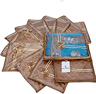Kuber Industries Saree Cover In Golden Satin, Garment Organiser, Wedding Collection Gift 12 Pcs Combo
