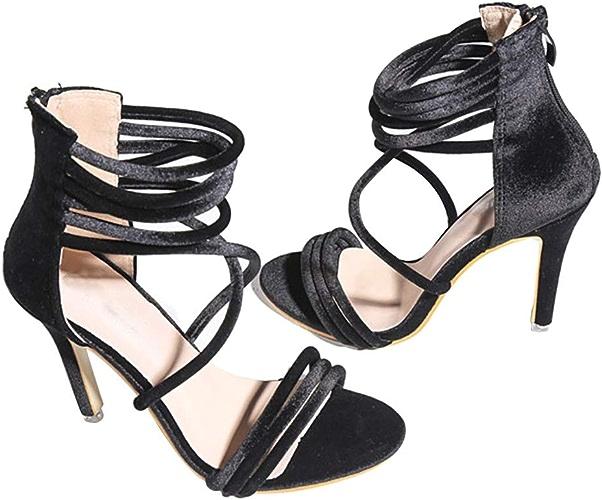 EGS-chaussures Sandales rohommetiques à l'arrière Fermeture à glissière Ouverte avec des Chaussures à Bride Chaussures de Cricket (Couleur   Noir, Taille   38)