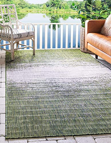 Unique Loom Modern Collection Distressed Gradient Transitional Indoor and Outdoor Flatweave Area Rug, 9 x 12 Feet, Green/Beige