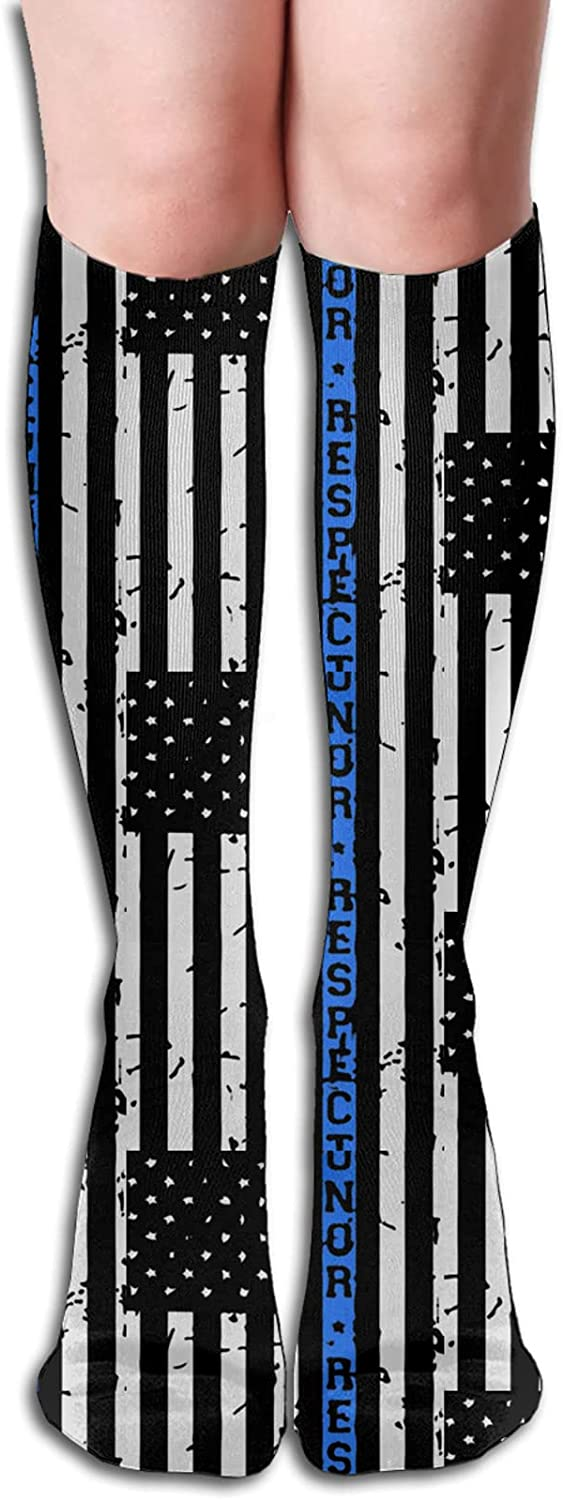 Honor online shop And Respect Thin Blue Line Large discharge sale Socks Athle Flag for Men Women