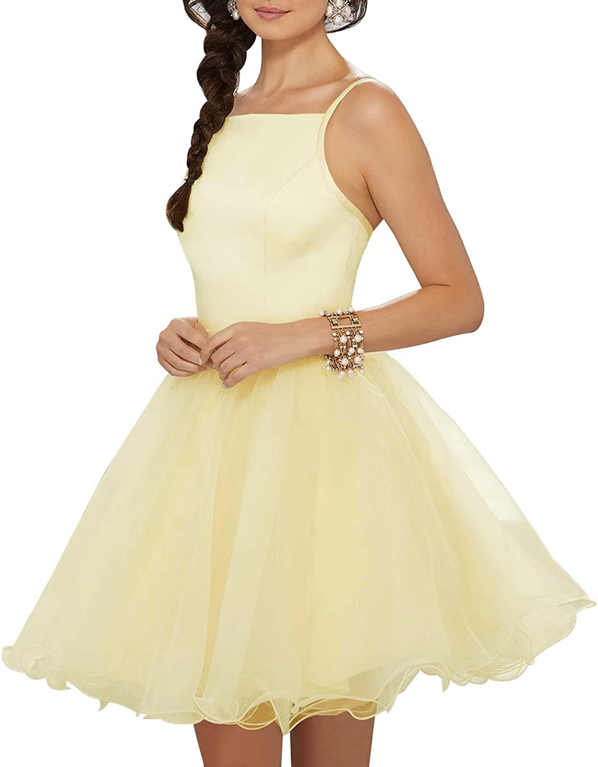 Staypretty Homecoming Dresses Satin Lace Halter Aline Formal Women Short Prom Gown with Pockets