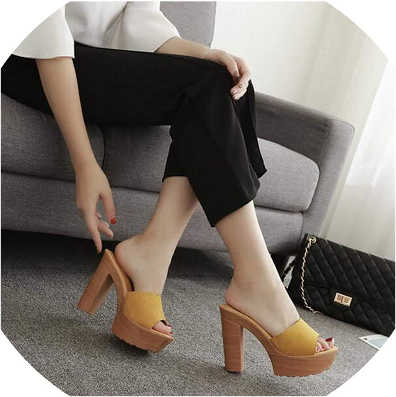 Nubuck Leather Platform Sandals Women Open Toe Beach Slippers Thick High Heels Wedges shoes Summer Flip Flops