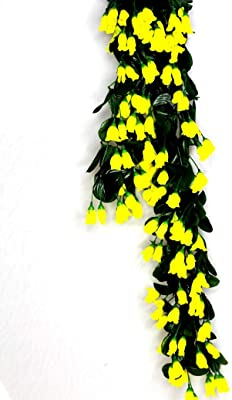 SHOPEE 5 Strings Artificial Hanging Orchid Rose Shaped Flowers (Yellow) (2.5FT Each Strings)