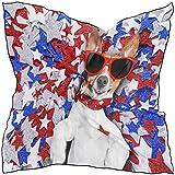 Bufanda cuadrada de moda Animal divertido Perro Patrón de estrella Bufandas ligeras de protección solar Envoltura de pelo Pañuelo para la cabeza Pañuelo para el cuello