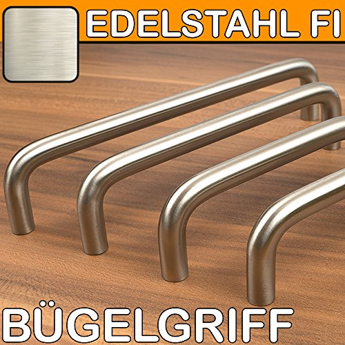 Möbelgriffe Bügelgriff Edelstahl FI Küchengriffe BA 128 mm massiv