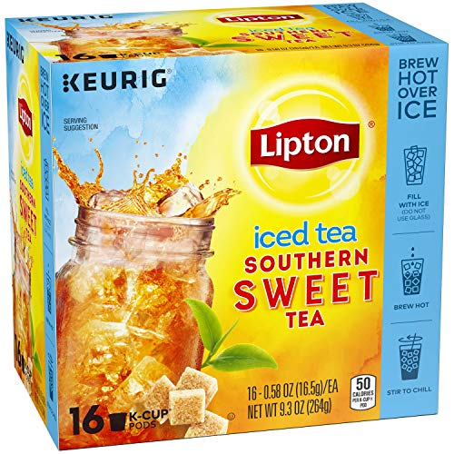 Lipton K-Cups Iced Tea for a Quick Refreshment Southern Sweet Tea Made from Real Tea Leaves, 16 K-Cup Pods, 4 Count