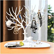 Antlers tree shelf creative jewelry boxes earring holder necklace bracelet ring European-style jewelry storage rack home (Color : White)