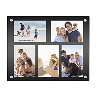 NIUBEE 5 Opening 4x6 Collage Picture Frame, Acrylic Wall Hanging and Desktop Photo Display with Mat (Black)