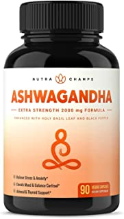 Organic Ashwagandha 2000mg with Holy Basil Leaf & Black Pepper Extract - Ashwaganda Root Powder Supplement for Stress & An...